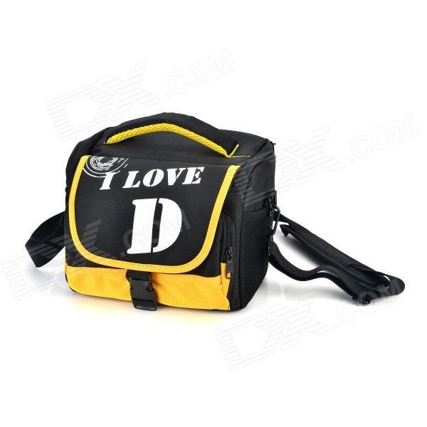 B85 Nylon + Cotton Camera Storage Shoulder Bag for Nikon D90 / D7000 / D80 + More - Black + Yellow spark storage bag portable carrying case storage box for spark drone accessories can put remote control battery and other parts
