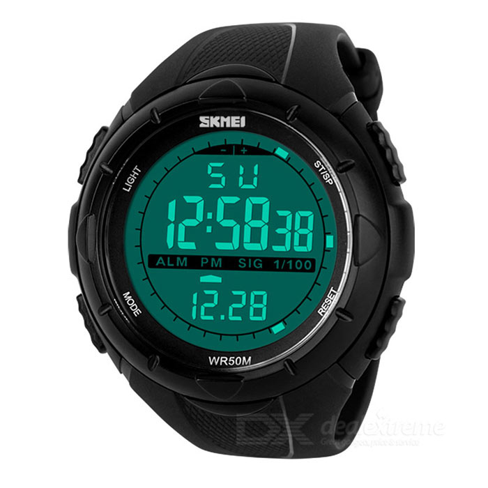 SKMEI Men's Plastic Casing Silicone Band Digital Display Digital Sport Watch - Black (1 x CR2025)