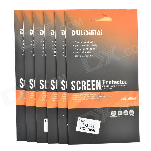 DULISIMAI Protective Clear ABS Screen Protectors w/ Cleaning Cloths for LG G3 - Transparent (6 PCS)