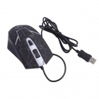 Juexie Lightning Panther G6 USB 2.0 1000-1600-2400DPI Wired LED Optical Gaming Mouse-Musta