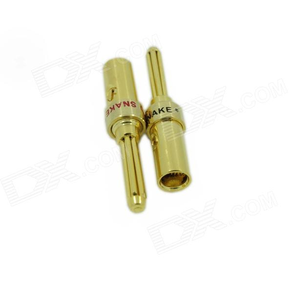 DIY Solderless Gold-plated Brass Banana Connectors - Golden (2 PCS) gold plated loudspeaker cable banana plugs connectors black golden 5 pcs