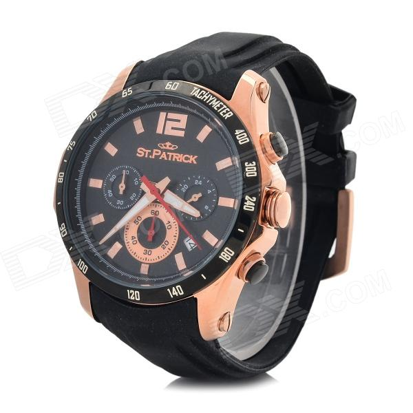 ST.PATRICK FI-4016 Men's Sports Stainless Steel Quartz Analog Wrist Watch - Black + Golden