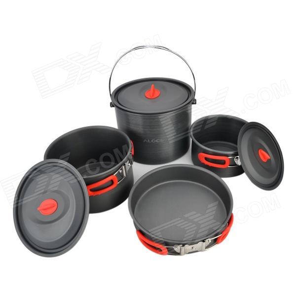 ALOCS CW-RT07 Outdoor Camping Alumina 3-Pot + Pan Set - Deep Grey + Red alocs cw c19t 2 3 people outdoor camping cook set 5 pieces with bag 2 2l pot 1 4l teapot 7 5 inches frying pan