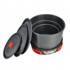 Alocs CW-RT07 acampar al aire libre Alumina 3-Pot + Pan Set - Deep Gris + Red