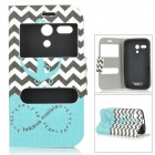 IKKI Patterned Flip Open PU + TPU Case w/ Display Windows + Stand for Motorola MOTO G / DVX - Black