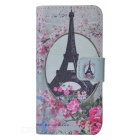 IKKI Eiffel Tower Style Flip Open PU Case w/ Stand + Card Slot for IPHONE 5S / 5 - Multi-colored