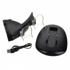 5V Plastic Dual Slot Charging Dock w/ Charging Cable for PS4 - Black