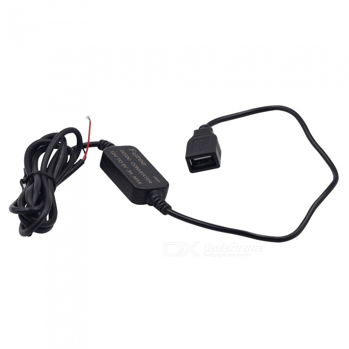 12V to 5V 3A USB 2.0 Vehicle Car Power Converter - Black