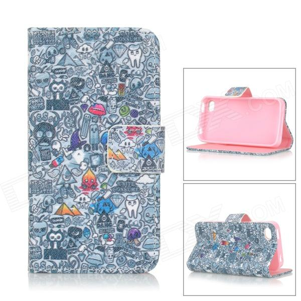 IKKI Patterned Flip Open PU Case w/ Stand + Card Slot for IPHONE 4S / 4 - Multi-colored cute owl pattern pu leather flip open case w stand card slot for iphone 4 4s multi color