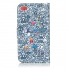 IKKI Patterned Flip Open PU Case w/ Stand + Card Slot for IPHONE 4S / 4 - Multi-colored