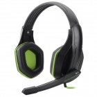 3.5mm Wired Gaming Headset w/ Sound Card / Microphone - Black + Green (Cable-240cm)