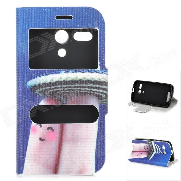 Intimacy Fingers Pattern Protective Flip-open PU + TPU Case for MOTO G / DVX - BlueTPU Cases<br>Color Blue Brand IKKI Model N/A Material PU + TPU Quantity 1 Piece Shade Of Color Blue Compatible Models MOTO G / DVX Packing List 1 x Case<br>