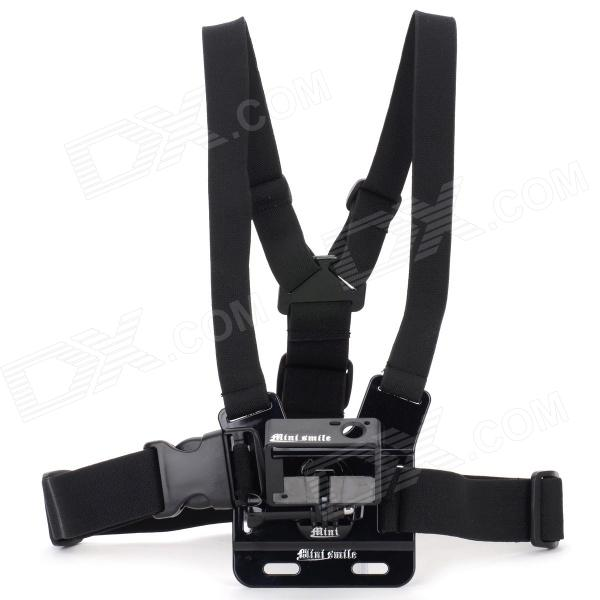 Adjustable Sport Chest Belt + Bumper Frame for Mini SMILE GoPro Hero 3+ / Hero 3 - Black no spots black