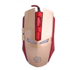 Juexie USB 2.0 Wired LED Optical 600-1200-1600DPI Gaming Mouse - Golden + Red (Cable-160cm)