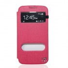 Flower Show Protective Leather Case for Samsung Galaxy S4 i9500 - Deep Pink