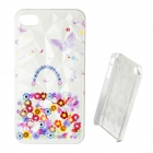 3D Crystal Flower Pattern Protective Plastic Back Case for IPHONE 4 / 4S - White + Multicolored