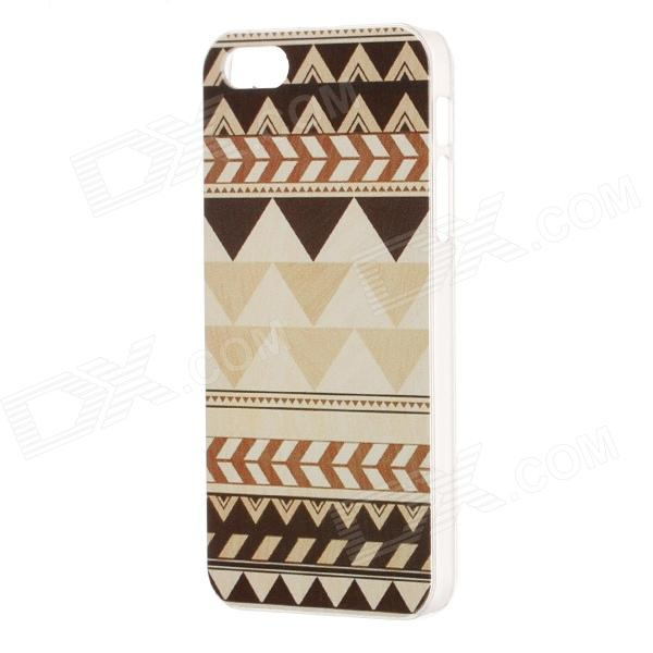 Geometric Figure Pattern Protective Plastic Back Case for IPHONE 5 / 5S - Light Yellow + Brown