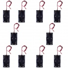 CM01 DIY Capless 2 x AA Battery Holder Cases w/ Lead - Black (10 PCS)