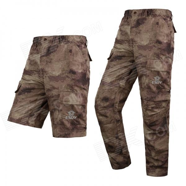 ESDY Men's Outdoor Sports Quick Drying Detachable Polyester Long Pants - Camouflage (XL)
