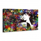 "Iarts DX0714-2 Hand-painted ""Beauty Girl before the Mirror"" Oil Painting - Black + White"