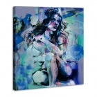 "Iarts DX0714-4 Hand-painted ""People Squat Down beside Sexy Naked Beauty"" Oil Painting - Blue + Green"