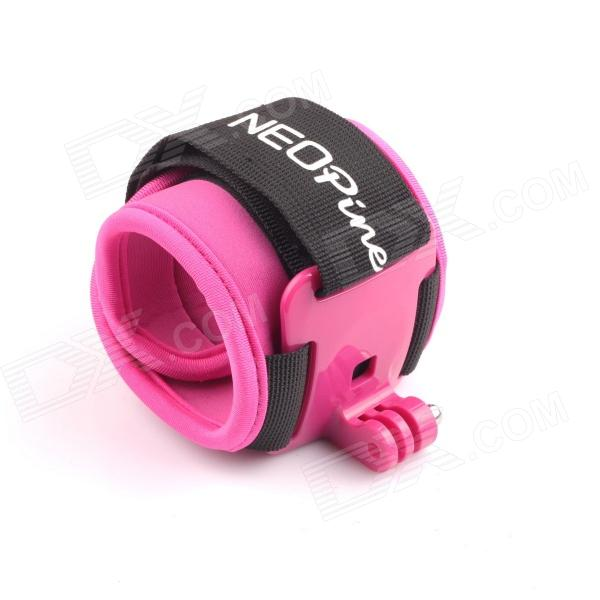 NEOpine Arm Bands Wrist Strap Mount w/ Hinge +Screw for Gopro Hero 4/ 3+ / 3 / 2 / 1 - Black + Pink