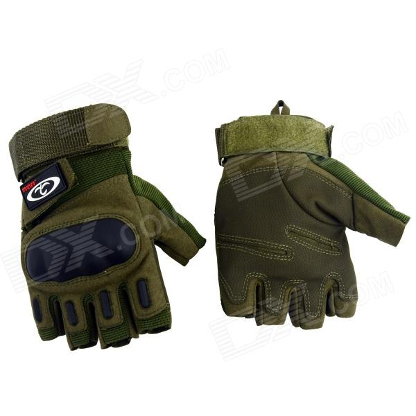OUMILY Outdoor Tactical Half-Finger Gloves - Army Green (Size L / Pair)