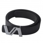 Fashionable Casual PU Leather Belt w/ Zinc Alloy Buckle - Black (110cm)