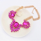 Fenlu Luxurious Shiny Acrylic Pendant Zinc Alloy Necklace - Golden + Purple