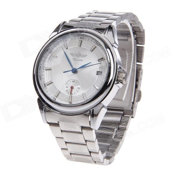 WINNER Men's Business Stainless Steel Band Analog Auto Mechanical Wrist Watch w / Calendar Display