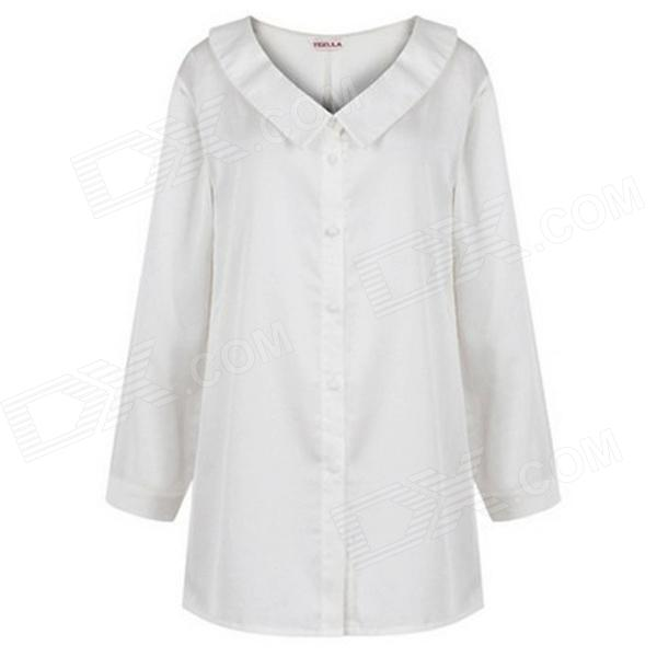 YL-03 Women's Fashionable Long-sleeve Shirt + Wavy Hem Skirt Suit - White + Black (S)