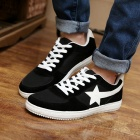Shangjin Men's Comfortable Casual Canvas Shoes - Black + White (Size 43)