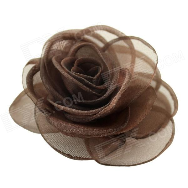 EQute Elegant Fashionalbe Solid Rose Flower Headdress Hair Clips / Corsage - Coffee