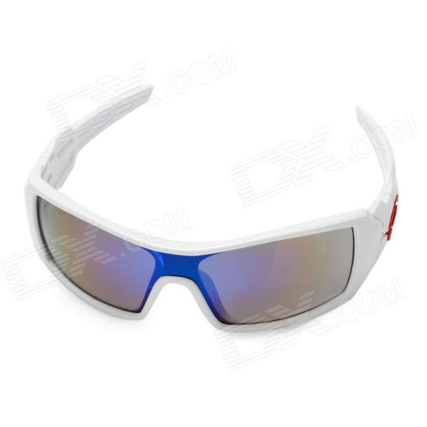 Fashionable Protective UV400 Resin Lens Sunglasses Goggles - White