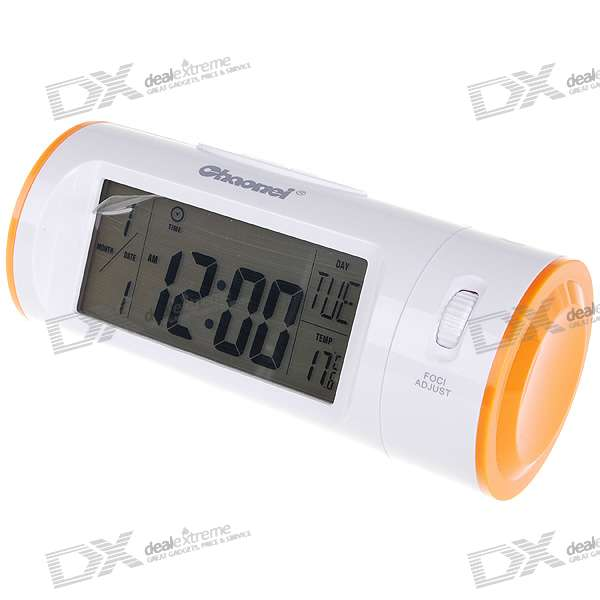 "3.9"" Backlit LCD Sound Activated Digital Projection Calendar Clock with Thermometer (3*AAA)"