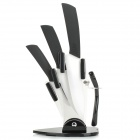 Multi-functional Kitchen Zirconia Ceramic Blade ABS + TPR Handle Knives Set - Black
