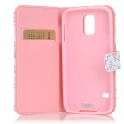 IKKI Patterned Protective PU Leather Full Body Case w / Stand para Samsung Galaxy S5 - Branco + Rosa