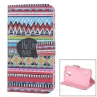 IKKI Patterned Protective PU Leather Full Body Case w/ Stand for Samsung Galaxy S5 - Black + Red