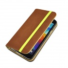 Angibabe Protective PU Leather Flip Open Case w/ Card Slot / Stand for Samsung Galaxy S5 - Brown