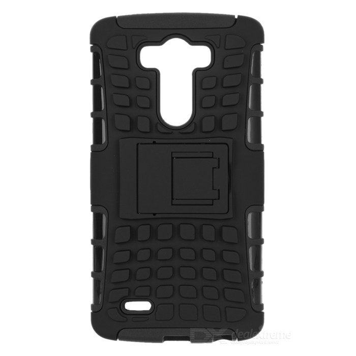 Protective TPU + PC Back Case w/ Holder for LG G3 - Black