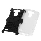 2-in-1 Protective TPU + PC Back Case w/ Holder for LG G3 - White + Black