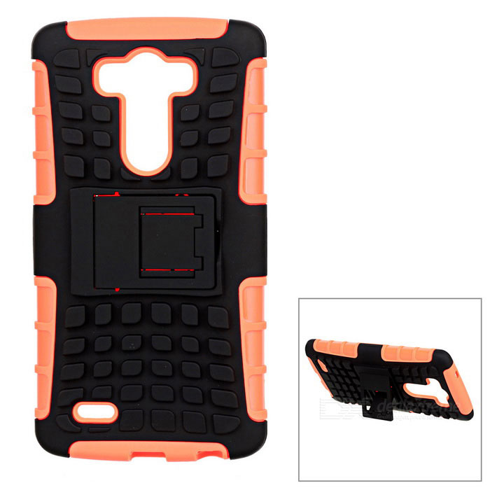 Protective TPU + PC Back Case w/ Holder for LG G3 - Orange + Black stylish protective flip open pu tpu case w stand for lg g3 black