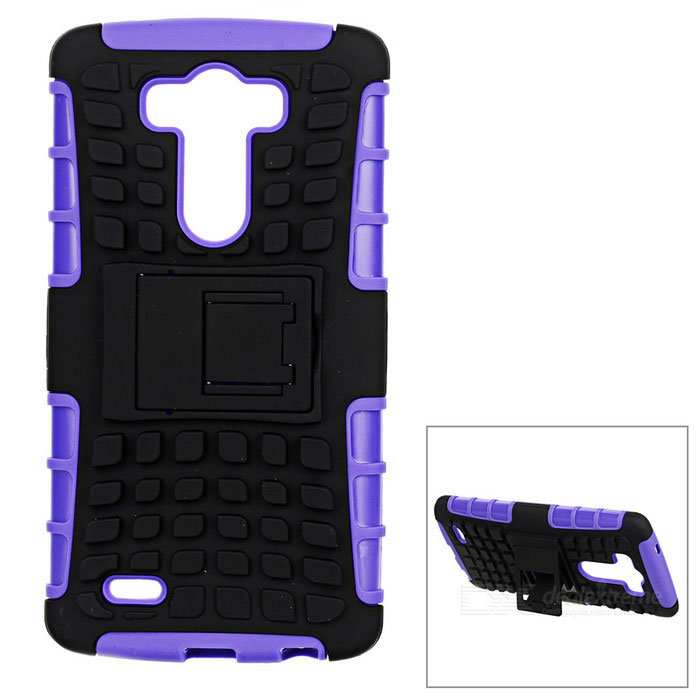 Protective TPU + PC Back Case w/ Holder for LG G3 - Purple + Black protective pc tpu back case for iphone 5 w anti dust cover lavender purple
