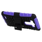 Protective TPU + PC Back Case w/ Holder for LG G3 - Purple + Black