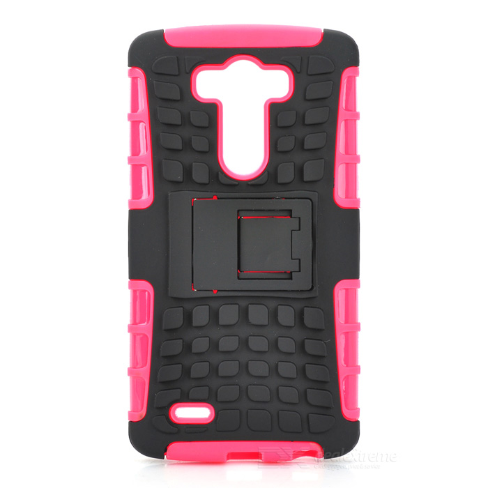 Protective TPU + PC Case w/ Holder for LG G3 - Deep Pink + Black stylish protective flip open pu tpu case w stand for lg g3 black