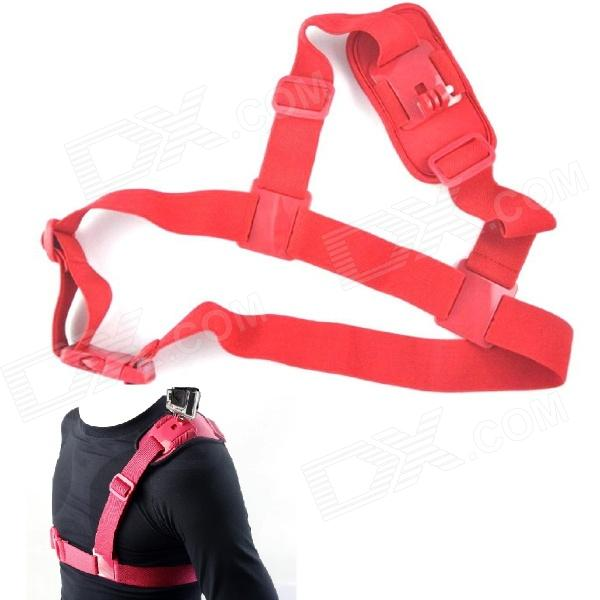 NEOpine Colorful Single Shoulder Chest Strap Mount for Gopro Hero 4/ 2 / 3 / 3+ Camera - Red