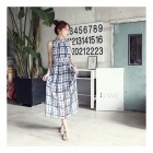 YT-3105 Tyylikäs Classic Plaid Pattern sifonki Maxi Dress - Sininen