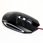 Våg-u USB 2.0 5-Button 2000dpi LED optisk kablet Gaming Mouse-Svart (kabel-180cm)