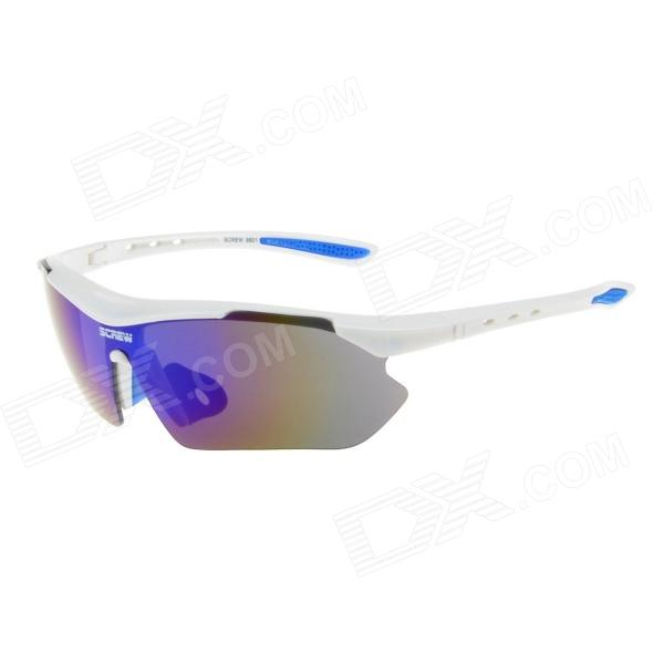 Outdoor Blue REVO UV400 Lens Sunglasses Goggles for Cycling / Travel - White
