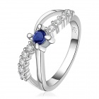 Women's Fashionable Silver Plated Dark Blue Crystal Ring - Silver + Deep Blue